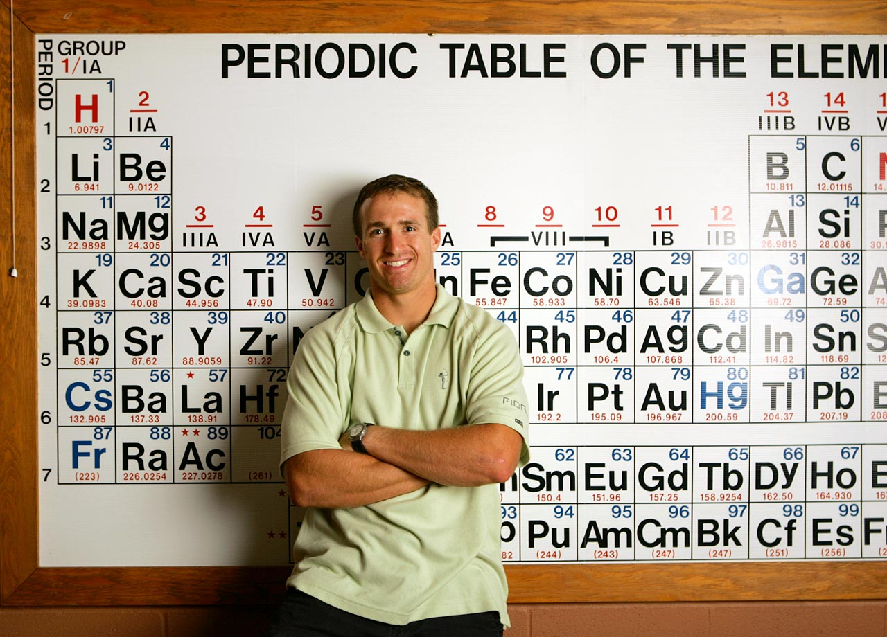 Intelligent both on and off the field, Drew Brees stands in front of the periodic table of elements. His classroom smarts earned him first-team Academic All-America honors at Purdue, the first Boilermaker to gain that distinction since Bruce Brineman in 1989.
