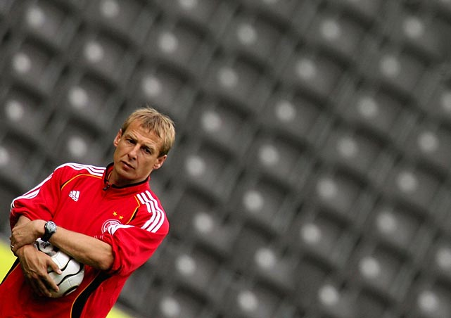 Klinsmann at German national team training in 2006. When managing the team, he would commute to sessions from his home in the United States -- to the frustration of Germany's fans. His non-traditional player selection and philosophies brought criticism that was largely silenced after Germany's third-place finish at the 2006 World Cup.