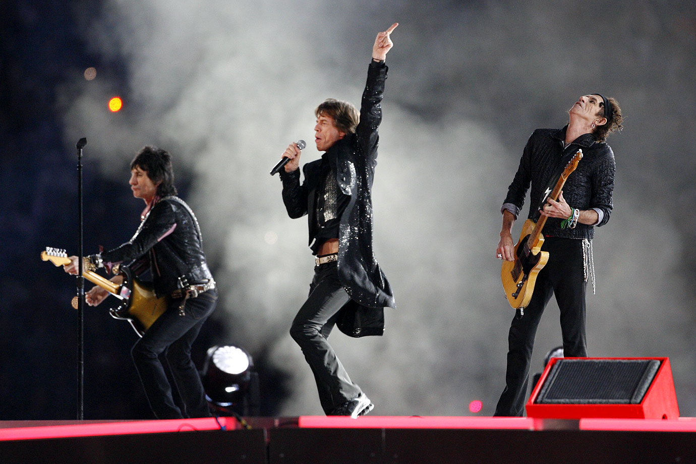 """Strutting across an enormous stage designed as a replica of the Stones' trademark tongue logo, Mick Jagger, at 62, proved that time is indeed on his side. ABC introduced a five-second delay in 2006, and censors cut lines from two of the three songs (""""Start Me Up"""" and """"Rough Justice""""). """"Here's one we could have done at Super Bowl I,"""" Jagger wryly said in introducing """"Satisfaction."""""""