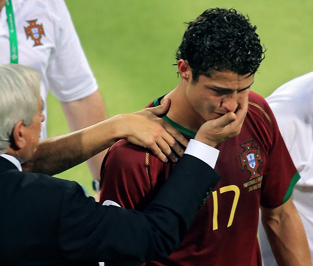 Portuguese forward Cristiano Ronaldo leaves the pitch in tears after being injured during Portugal's Round of 16 clash with the Netherlands in the 2006 World Cup.