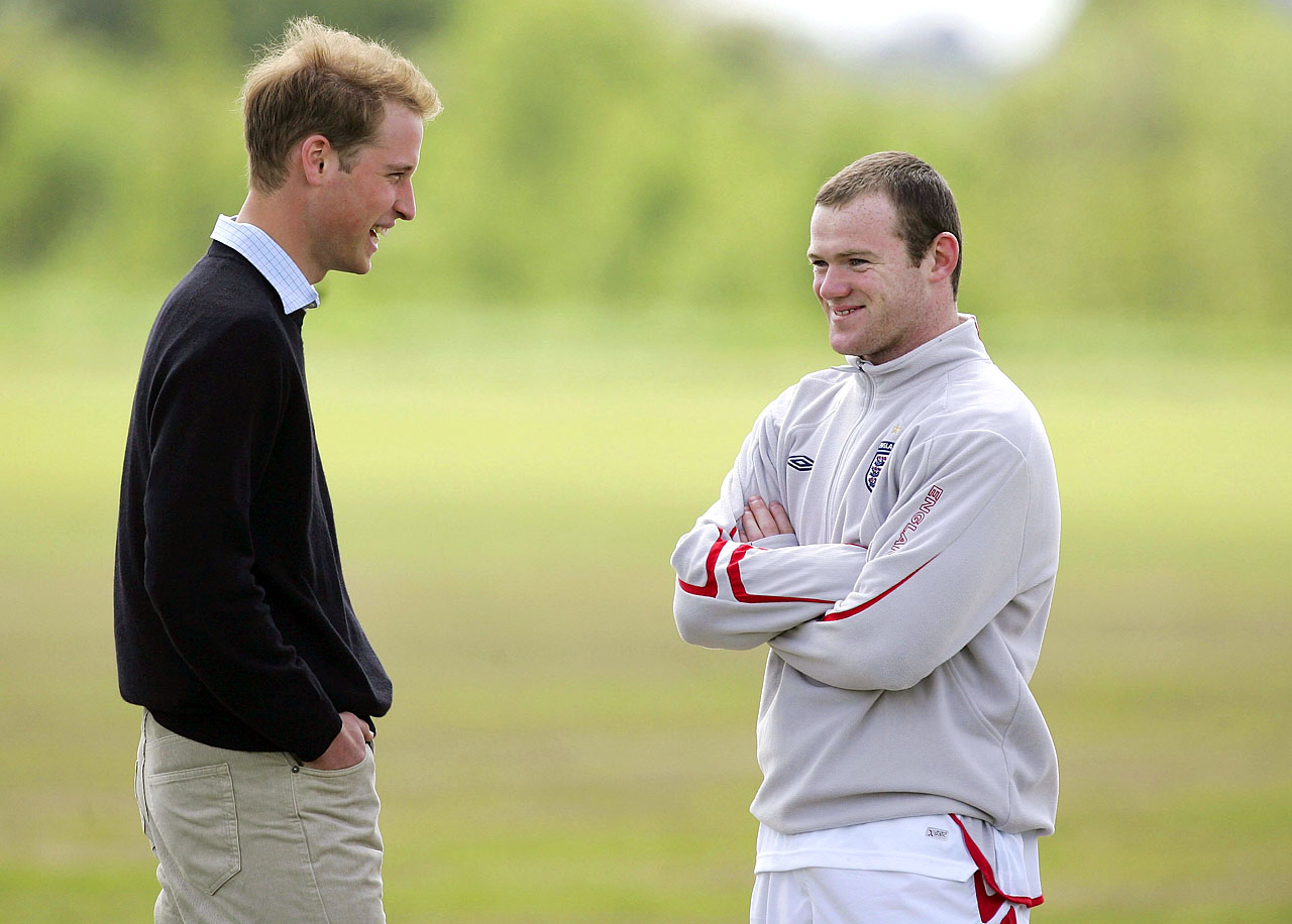 Rooney chats with Prince William before England's friendly against Jamaica on June 1, 2006.