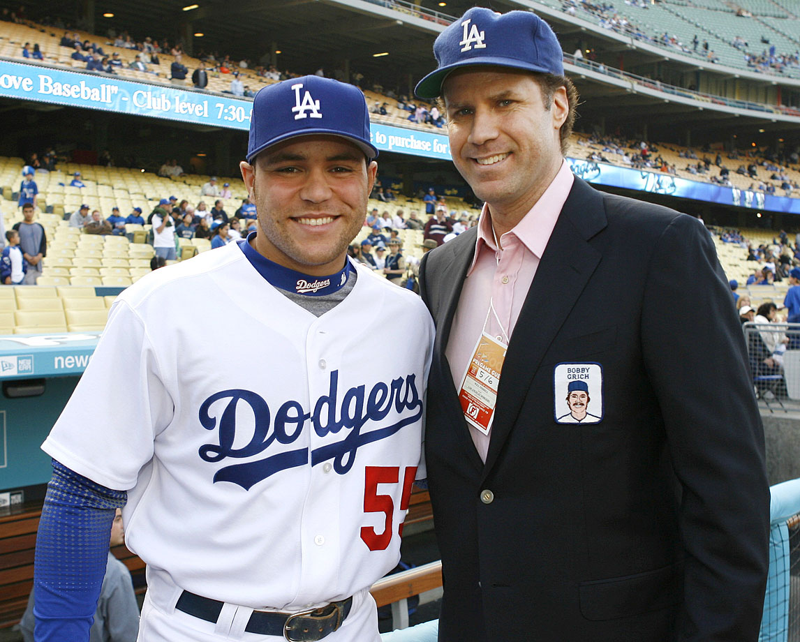 Russell Martin and Will Ferrell pose together prior to the Los Angeles Dodgers game against the Milwaukee Brewers on May 6, 2006 at Dodger Stadium in Los Angeles.