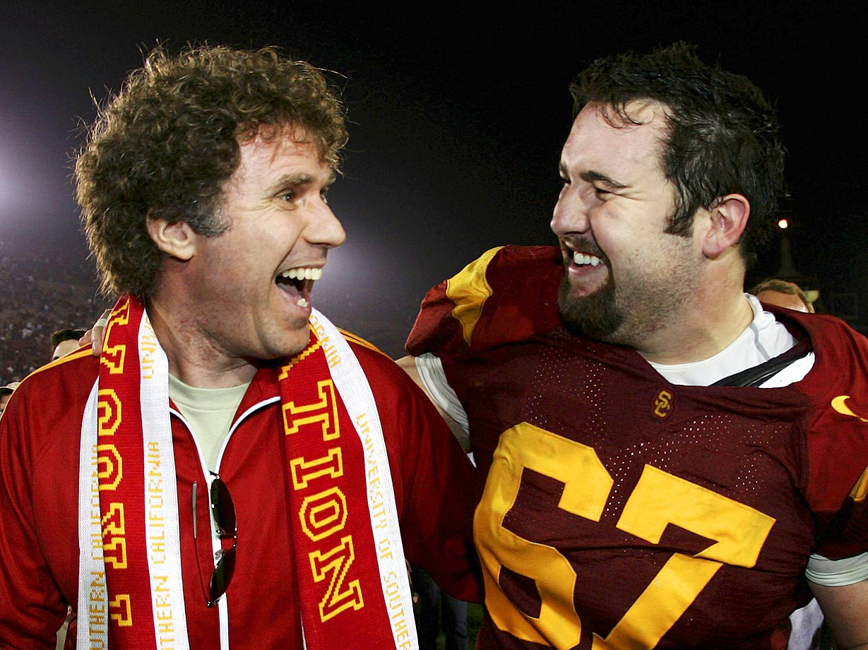 Will Farrell and USC center Ryan Kalil celebrate the Trojans' 23-9 win over the California Golden Bears on Nov. 18, 2006 at the Los Angeles Memorial Coliseum.
