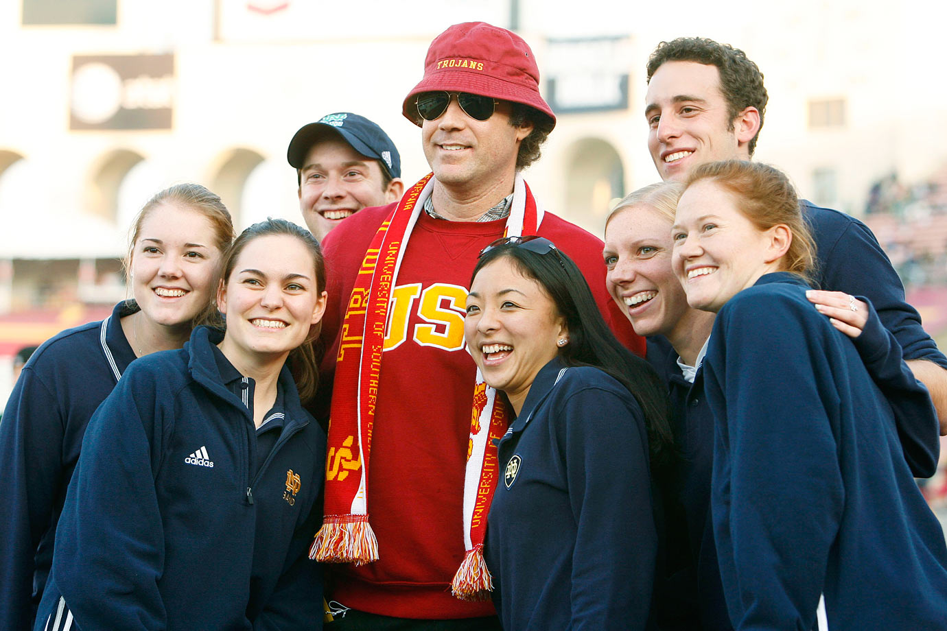 Will Ferrell poses with members of the Notre Dame marching band before USC Trojans game against the Fighting Irish on Nov. 25, 2006 at the Los Angeles Memorial Coliseum.
