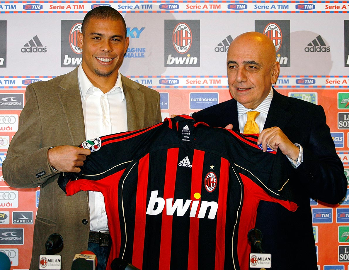 Ronaldo joined AC Milan, the sixth of his seven career teams, in February 2007. Here, he poses with AC-Milan vice-president Adriano Galliani.