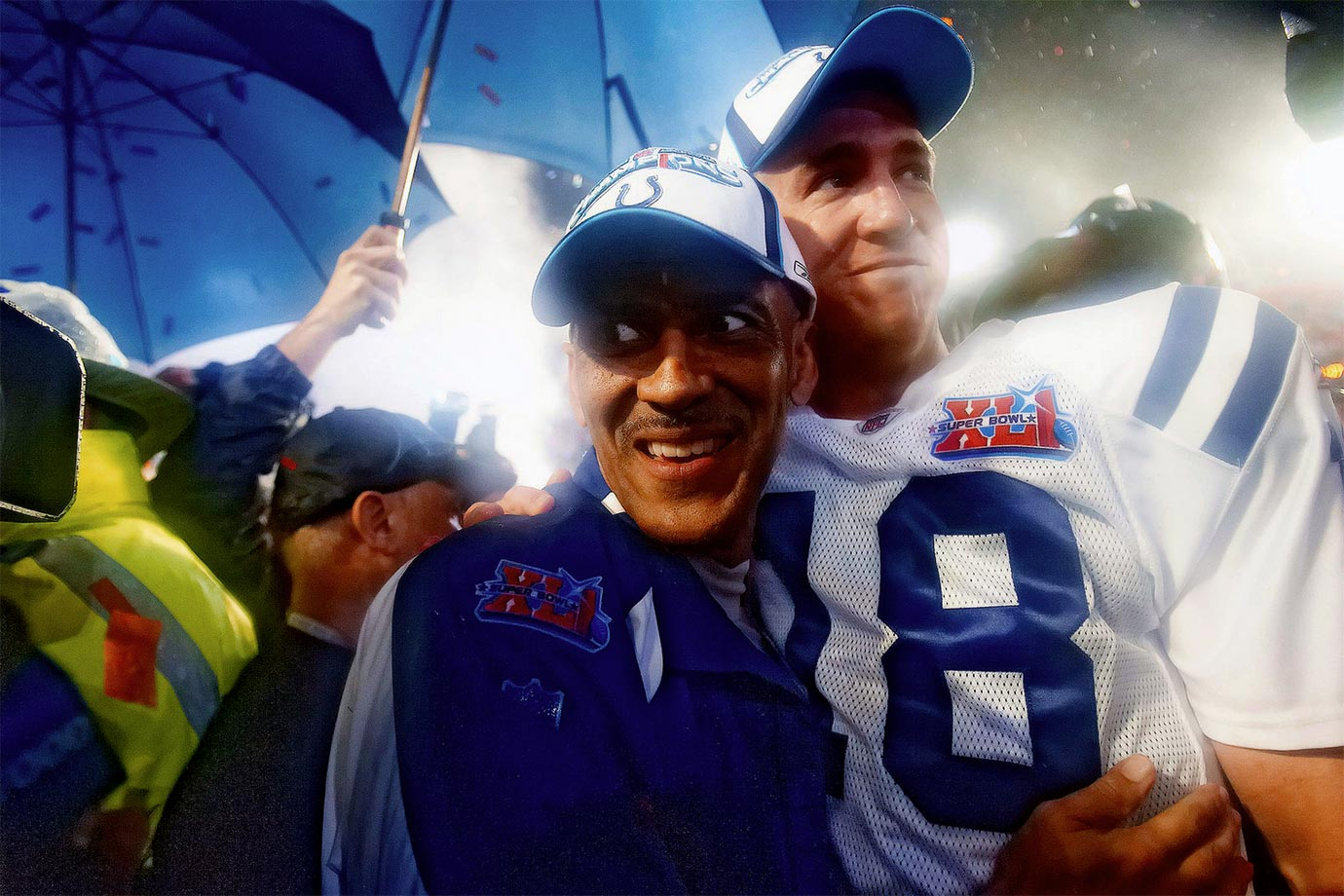 Indianapolis Colts head coach Tony Dungy and quarterback Peyton Manning smile together after defeating the Chicago Bears, 29-17.