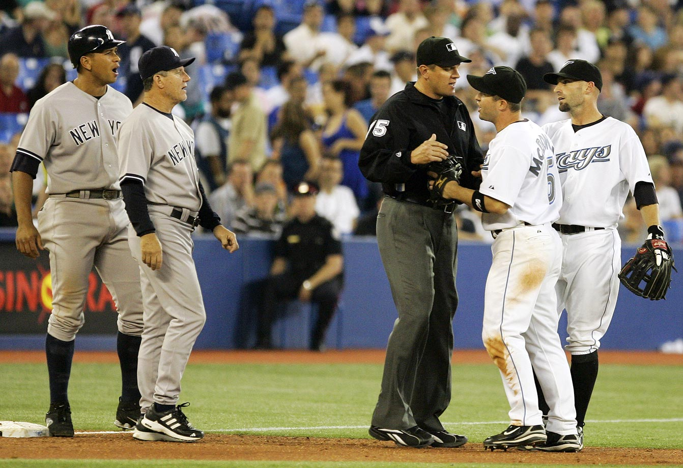 "During an early-season matchup with the Blue Jays in 2007, Rodriguez got into some hot water north of the border. With two out in the ninth and the Yankees leading 10-5, Jorge Posada hit an infield pop-up. As third baseman Howie Clark settled under the ball, Rodriguez ran past him on the base path. Video replays clearly showed Rodriguez yelling something that was described by Jays on the field as ""Mine!"" or ""I got it!"" The ball dropped, a run scored and shortstop John McDonald had to be restrained from attacking Rodriguez, who insisted he only yelled, ""Ha."""
