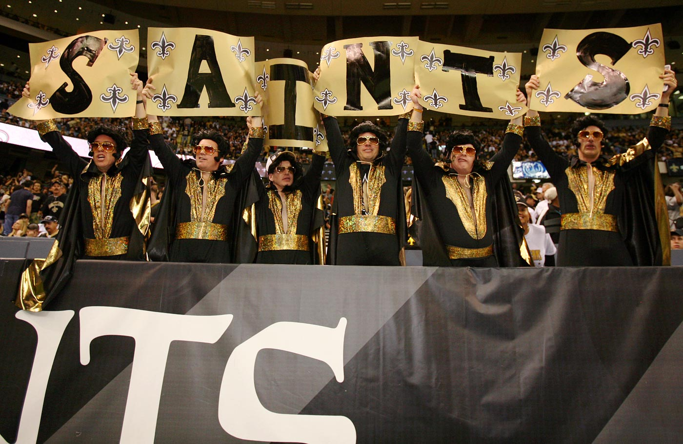 Saints and Elvis fans attend the New Orleans Saints Divisional Playoff game against the Philadelphia Eagles at the Superdome in New Orleans on Jan. 13, 2007.