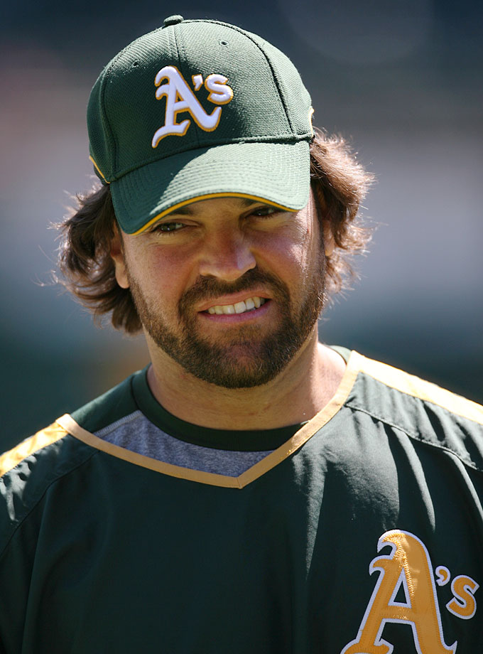 Mike Piazza smiles prior to the Athletics game against the Angels in April 2007.