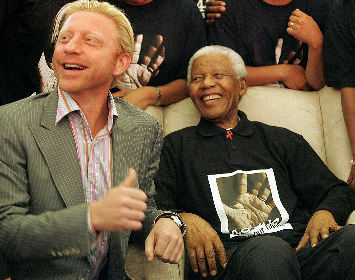 Former world No. 1 tennis player Boris Becker spent time with Mandela during a shoot promoting the 46664 AIDS benefit concert to occur later in the year.
