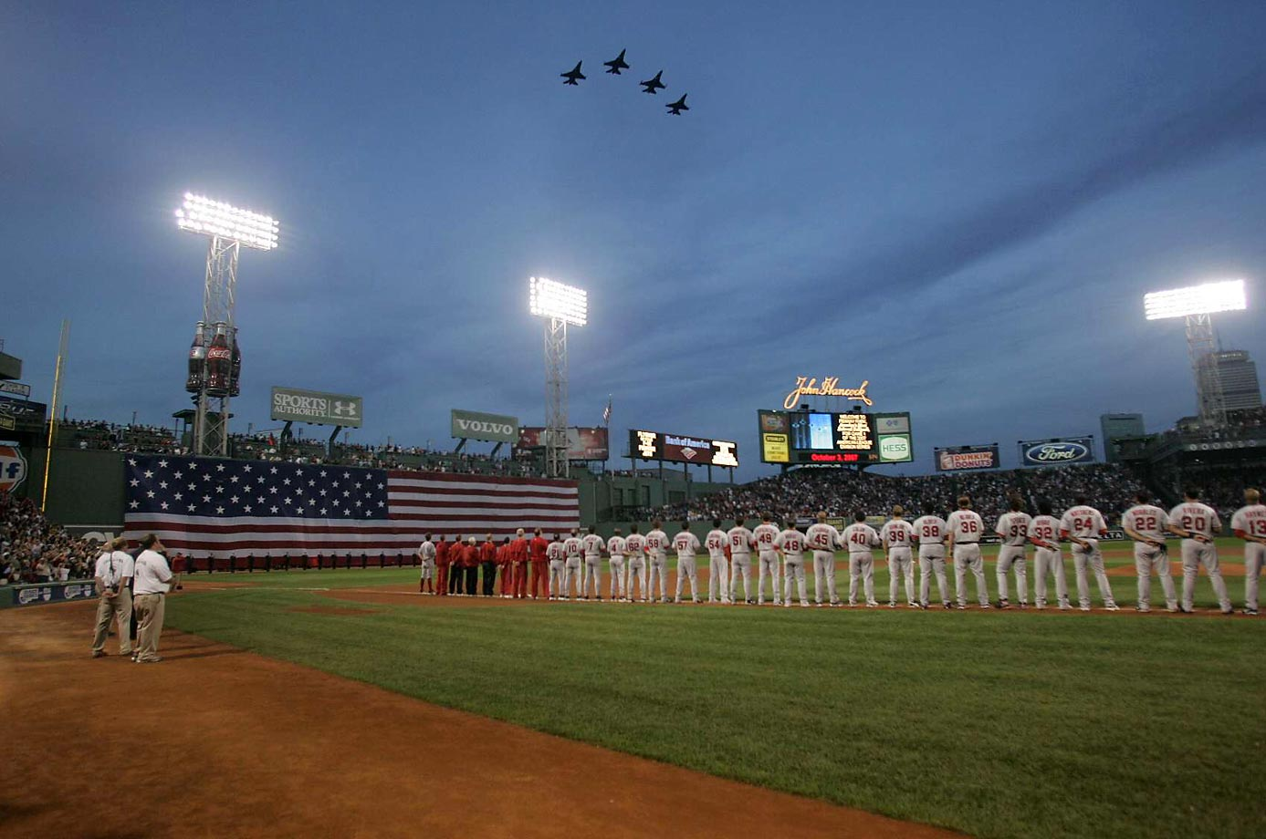 Jets fly over Fenway Park in Boston before the Red Sox play the Los Angeles Angels in 2007.