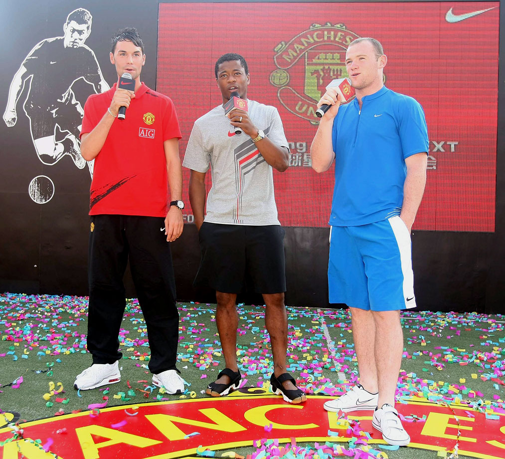 Eagles, Evra and Rooney of Manchester United attend an event to promote the new Nike Laser football boot on July 26, 2007 in Guangzhuo, China.