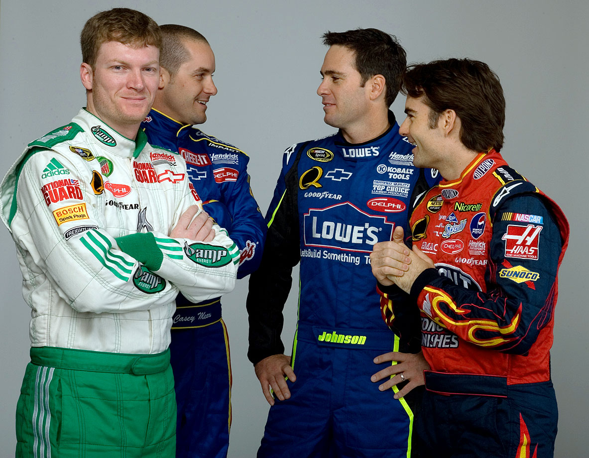 Hendricks Team members Dale Earnhardt Jr., Casey Mears, Jimmie Johnson and Jeff Gordon pose together for a photo shoot in Hemestead, Fla.