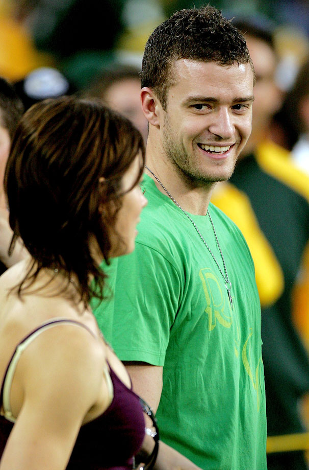 Justin Timberlake and Jessica Biel stand on the sidelines before the Green Bay Packers game against the Chicago Bears at Lambeau Field in Green Bay, Wisc., on Oct. 7, 2007.