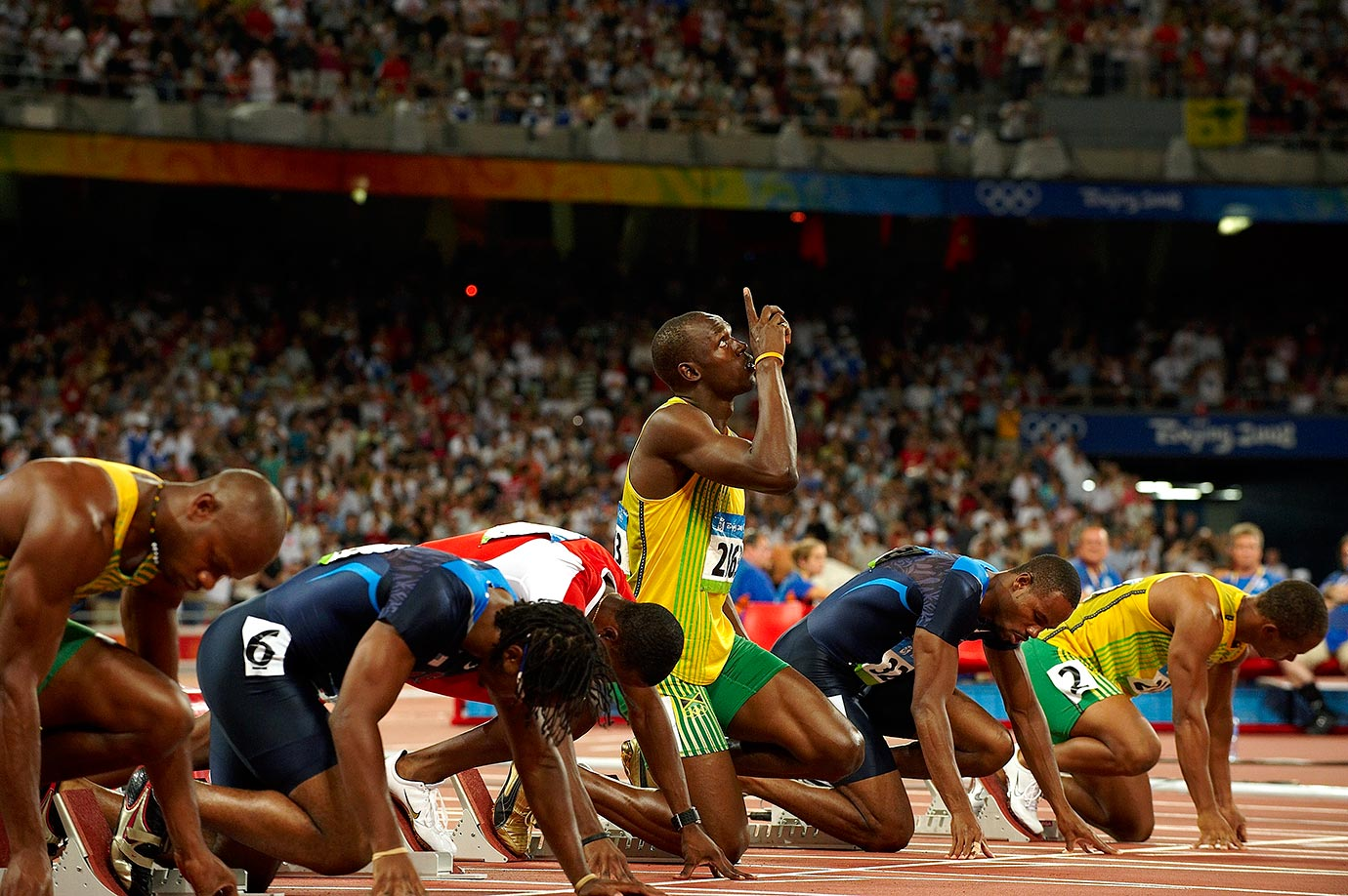 Usain Bolt looks up before the start of the 100m semifinals during the 2008 Summer Olympics in Beijing, China.