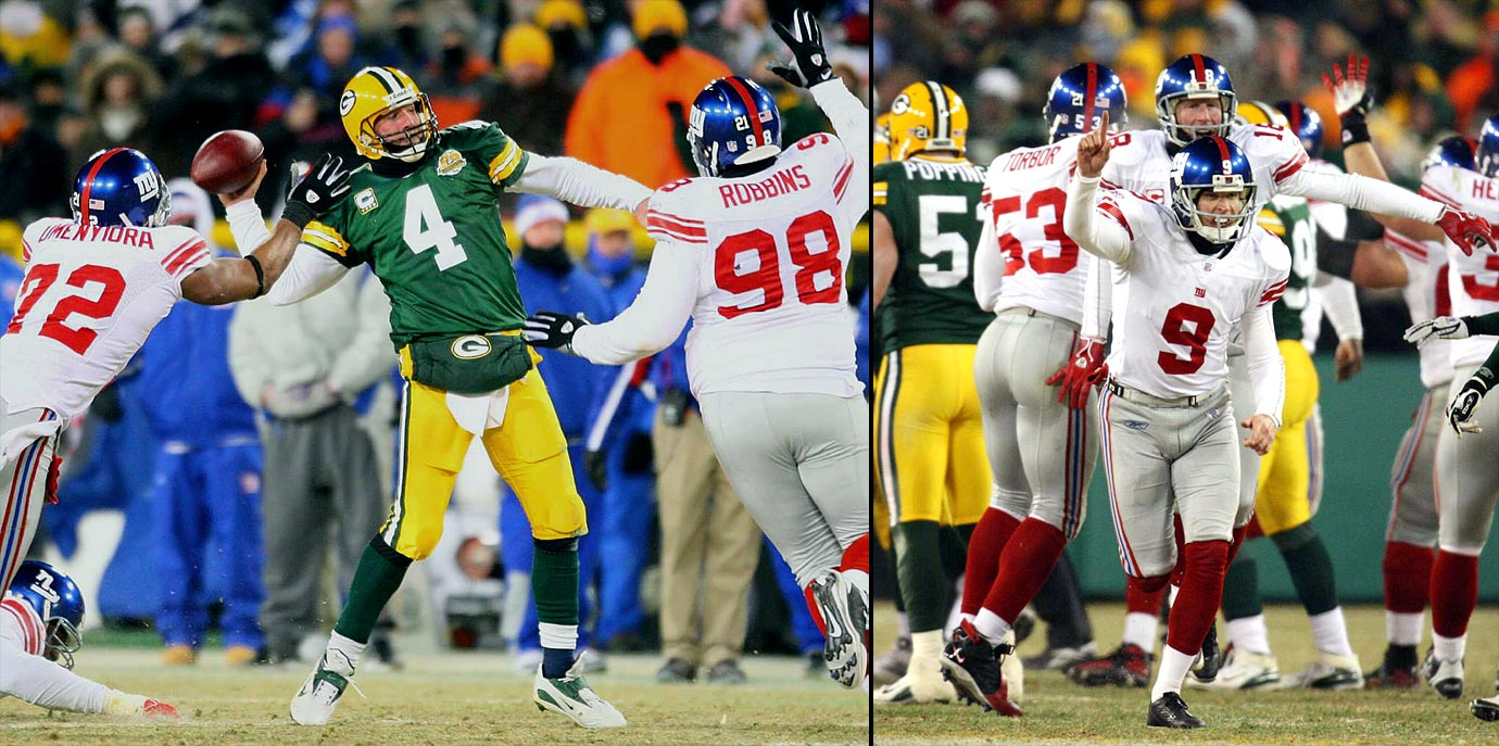 What a way to go out: Playing in a minus-24 degree wind chill, Green Bay quarterback Brett Favre's last pass as a Packer was an interception on the second play of overtime. The pick set up Giants kicker Lawrence Tynes—who had missed two fourth quarter kicks, including a 36-yarder as time expired—for his game-winning 47-yarder that made it 23-20.