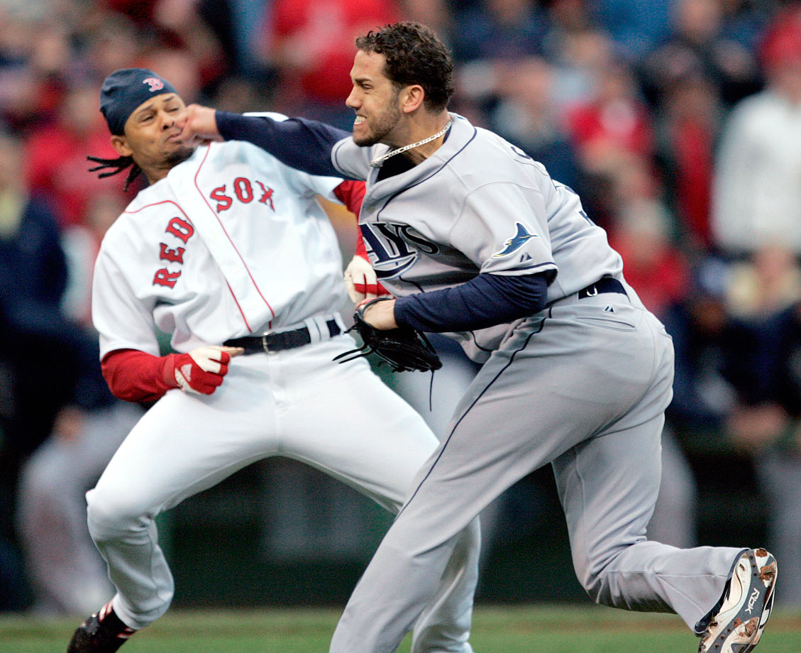The ongoing feud between the Rays and Red Sox continued at Fenway Park when Tampa Bay's James Shields hit Boston's Coco Crisp in retaliation for Crisp's rough slide into a Tampa Bay player the previous night. Crisp charged the mound, and both players threw roundhouse punches that failed to do any damage. A bench-clearing brawl, resulting in three ejections, followed.