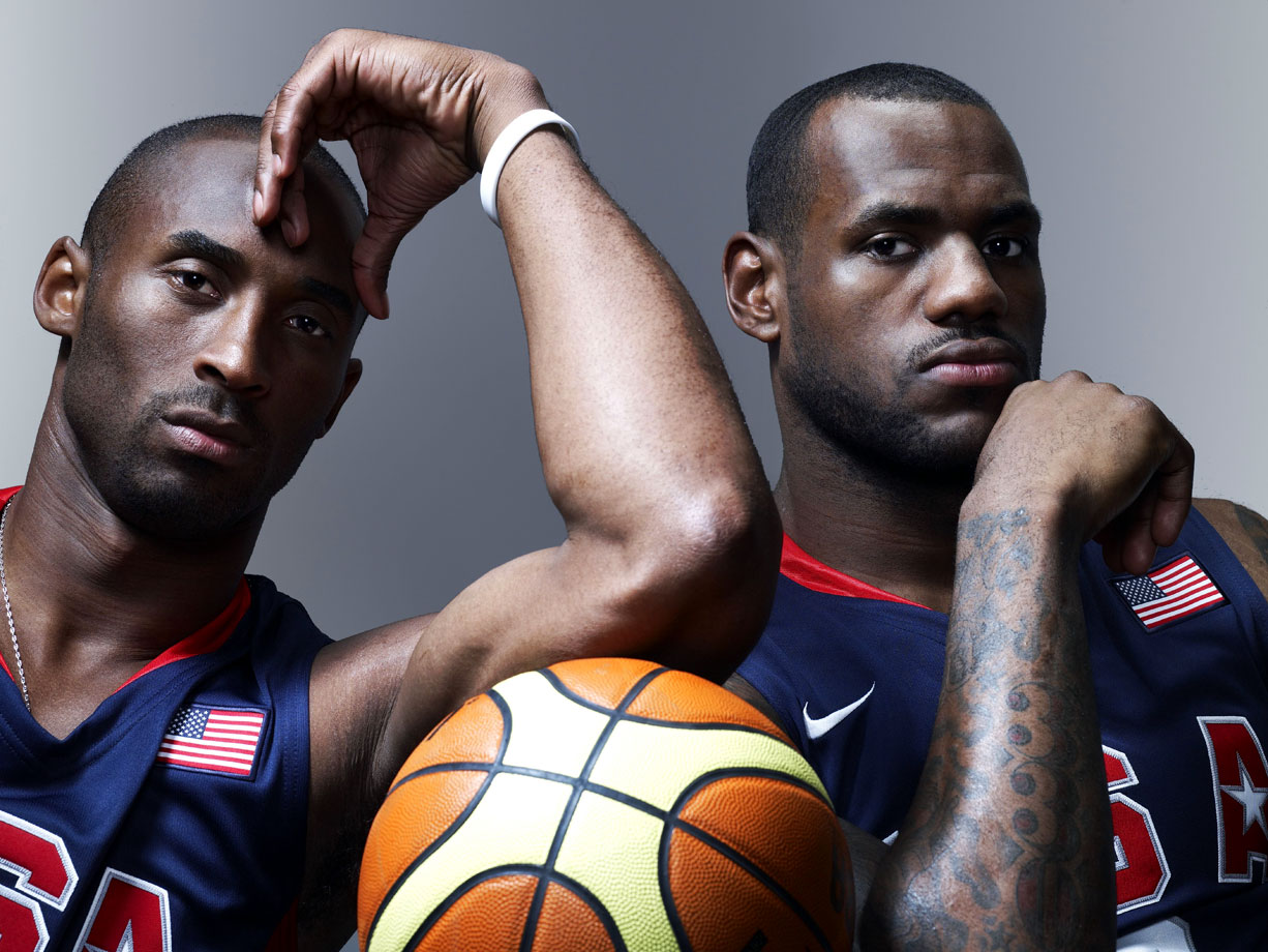 "Kobe and Olympic teammate LeBron James pose before the 2008 Games in Beijing. The ""Redeem Team"" struck gold, ending an eight-year U.S. drought in basketball."