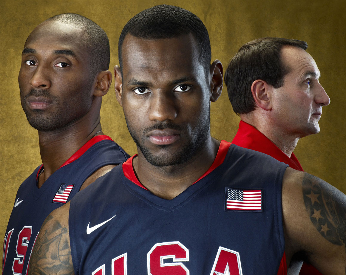 Kobe Bryant and LeBron James pose with their Olympic coach before the 2008 Summer Olympics, where U.S. basketball earned a gold medal. Bryant verbally committed to play for Mike Krzyzewski at Duke before bypassing college basketball to go directly from high school to the NBA.