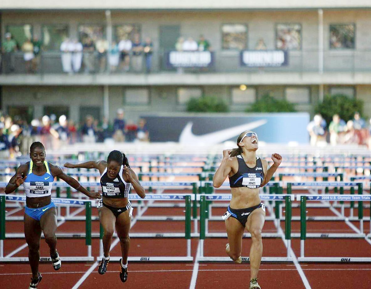 Lolo Jones at the finish of the 100-meter hurdles at the 2008 U.S. Team Trials.