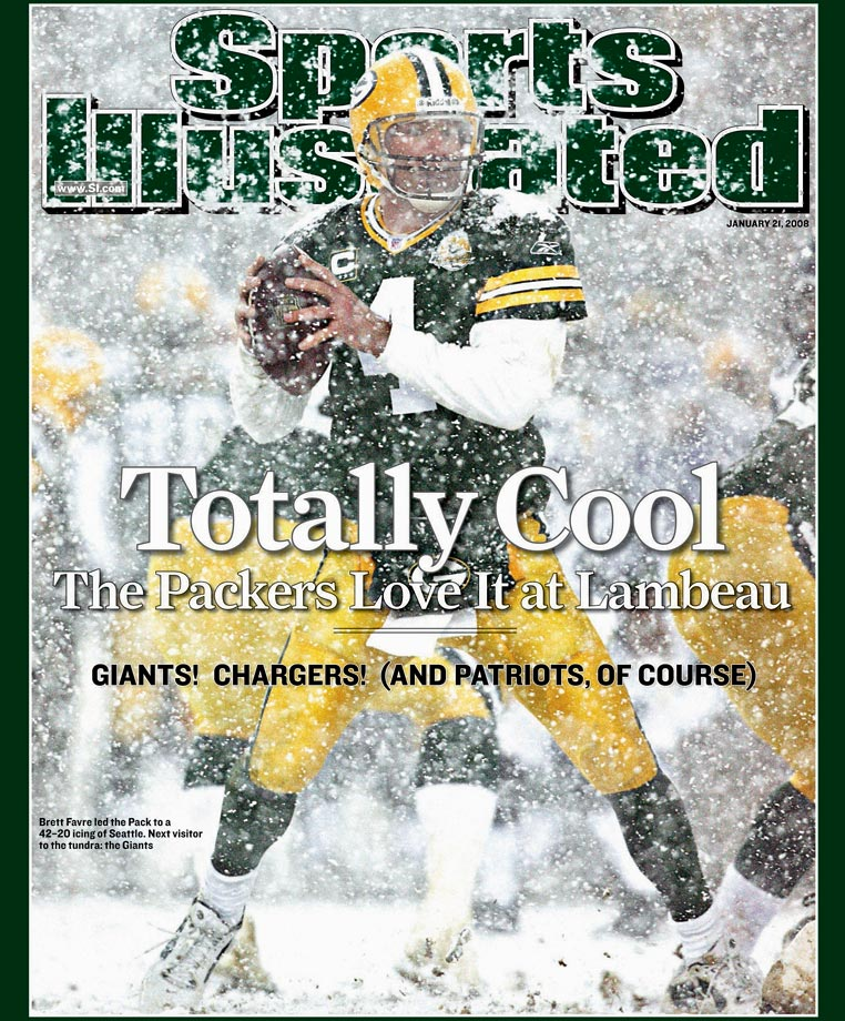 With Lambeau Field looking like a snow globe, the Packers posted their biggest point total in postseason history. Brett Favre frolicked in the flurries the entire afternoon, throwing three touchdown passes as the Packers beat the Seahawks 42-20 to reach the NFC Championship Game.  It would be Favre's last win with the Packers, who went on to lose to the eventual Super Bowl champion New York Giants at Lambeau.