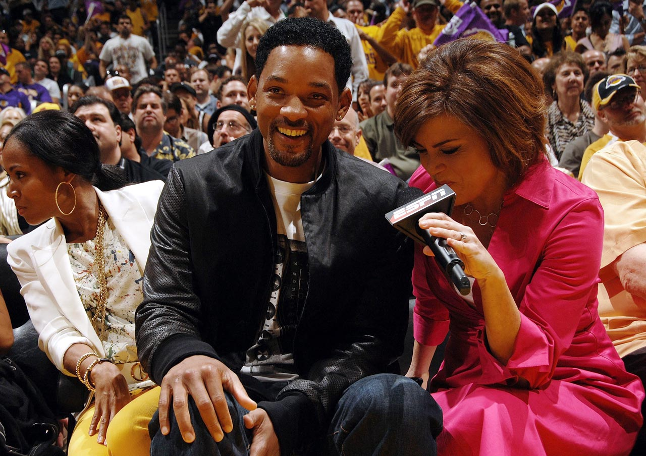 Will Smith talks to ESPN sideline reporter Michelle Tafoya during Game 4 of the 2008 NBA Finals.