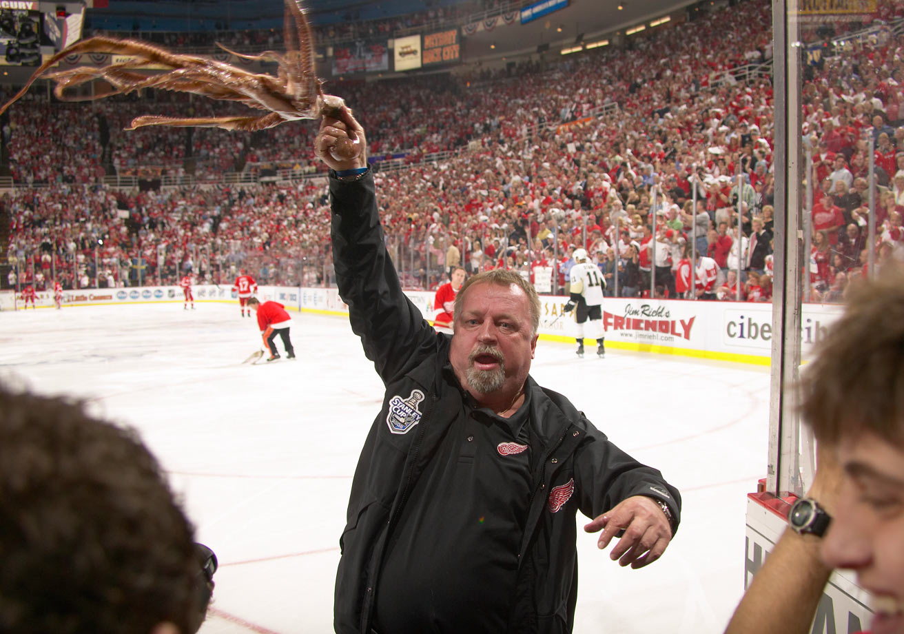 The Red Wings Zamboni driver for the past 30 years, Sobotka is a local legend in Detroit. Whenever a fan throws an octopus onto the ice at Joe Louis Arena, Sobotka skitters out, picks it up and twirls the tentacled creature above his head to rev up the crowd. The octopus, meant to symbolize the eight wins it used to take to win the Stanley Cup in the old two-round playoff format, has been the Red Wings' unofficial mascot since the tradition began in 1952.