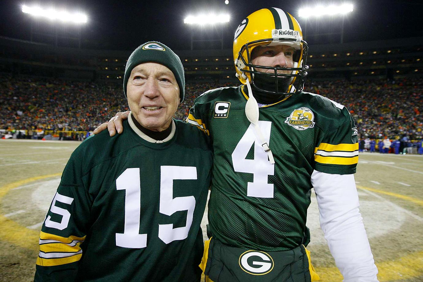 "April 12, 2015, was known in Wisconsin as ""Favre-Rodgers-Starr Day"" because of the quarterbacks' numbers—4, 12 and 15, respectively. (Text credit: Shannon Carroll)"