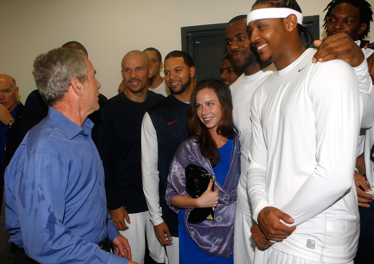 The best part of this photo: Check out Barbara Bush and LeBron. They seem to be enjoying a nice bear hug.