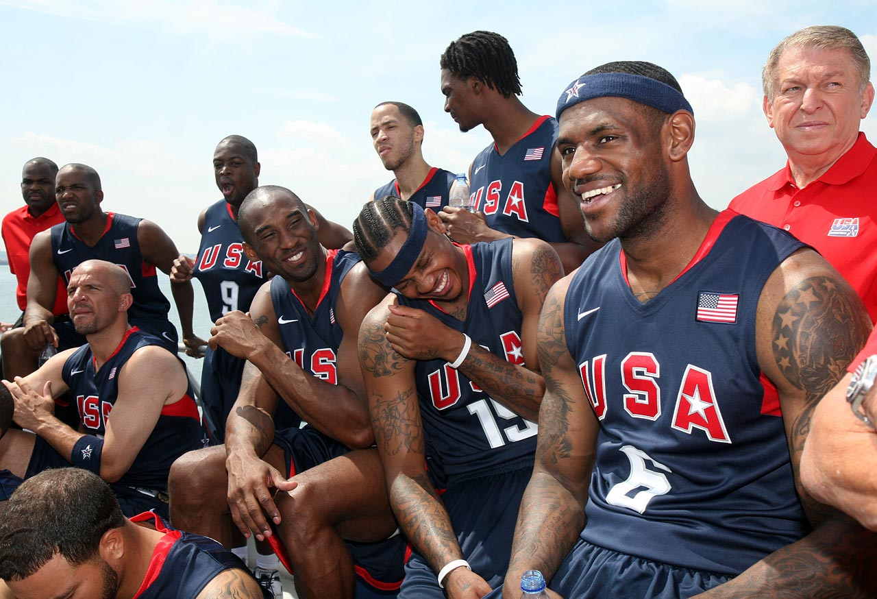 Jason Kidd, Kobe Bryant, Carmelo and LeBron attend the U.S. Olympic Men's Basketball Team unveiling of their new team look to fans in New York before they took off for the 2008 Games in Beijing. The ''Redeem Team'' defeated Spain in the final to capture the gold medal, ending an eight-year drought for the team at major international competitions.