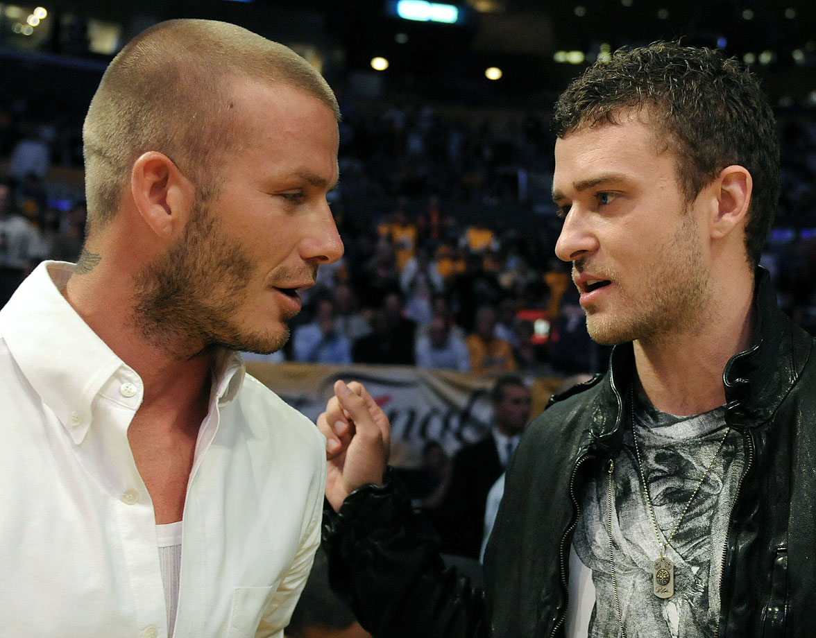 David Beckham chats with Justin Timberlake before Game 4 of the 2008 NBA Finals between the Boston Celtics and the Los Angeles Lakers at Staples Center in Los Angeles on June 12, 2008.