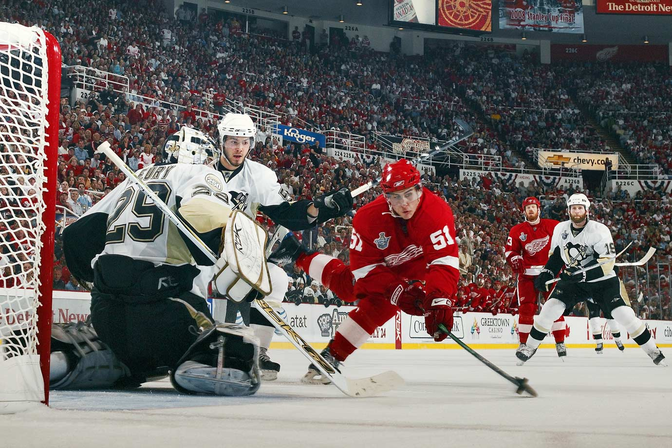 The Red Wings center dangled and dazzled, scoring at 8:48 of the third period in Game 2 of the 2008 Final. His goal gave Detroit a 3-0 lead and 2-0 series advantage over Pittsburgh and goalie Marc-Andre Fleury.