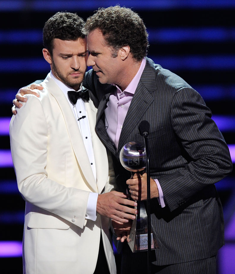 Will Ferrell accepts the best male athlete award for Tiger Woods from host Justin Timberlake at the ESPY Awards at the Nokia Theater in Los Angeles on July 16, 2008.