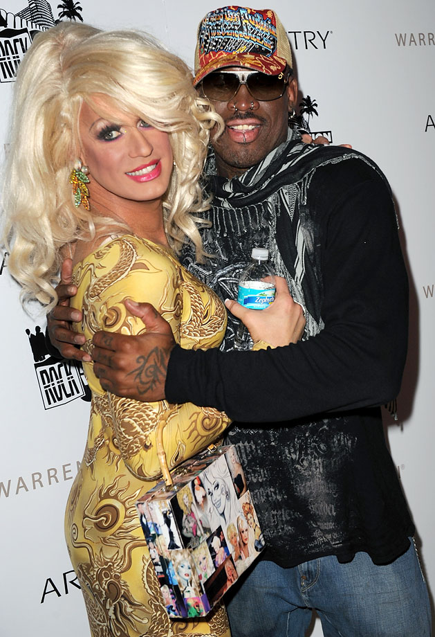 Rodman embraces drag queen Elaine Lancaster at LIV Nightclub in Miami Beach.