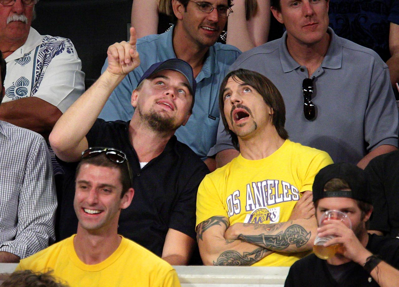 Leonardo DiCaprio and Anthony Kiedis attend the Los Angeles Lakers game against the Houston Rockets at Staples Center in Los Angeles.