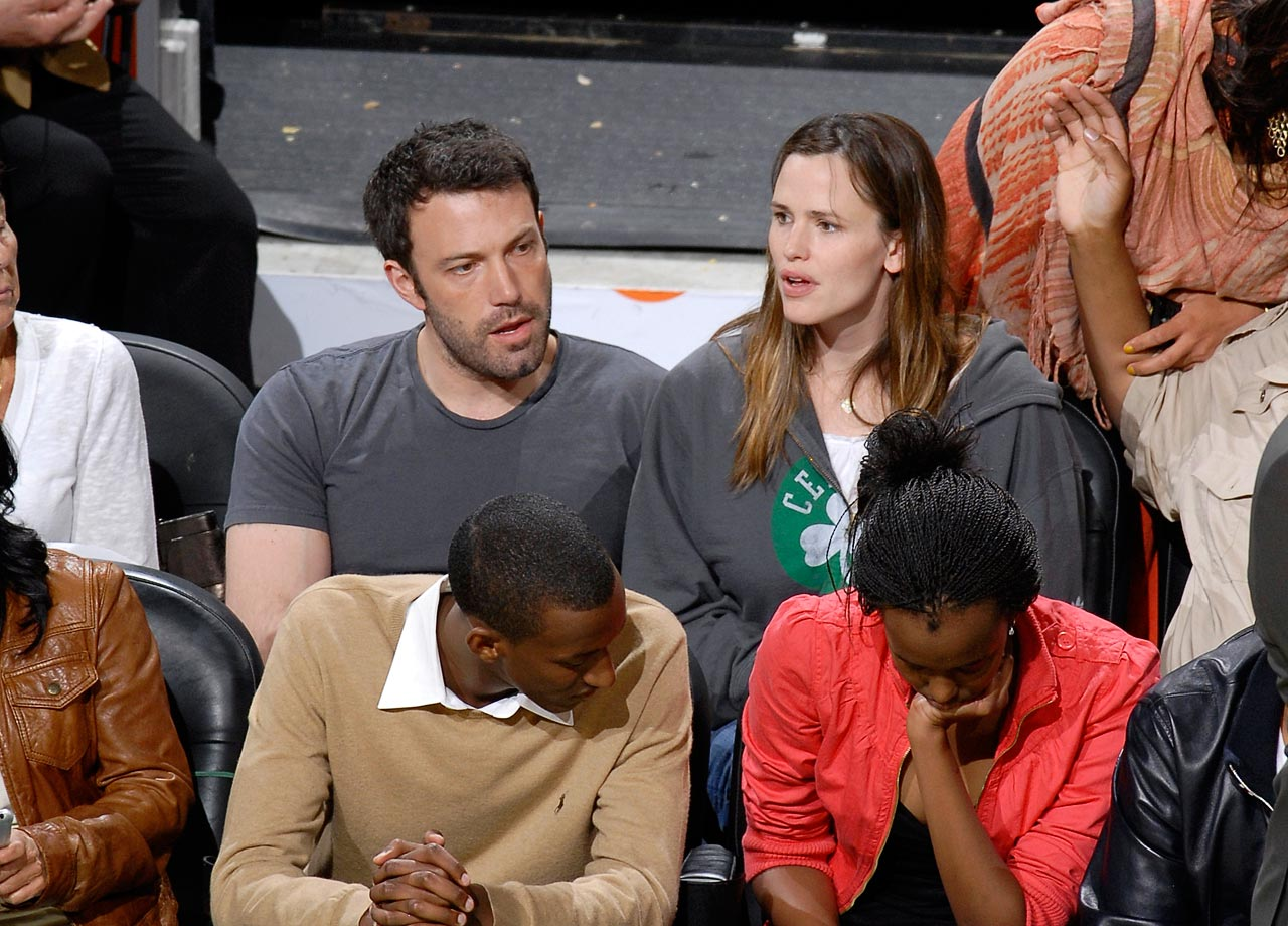 Ben Affleck and Jennifer Garner attend Game Seven of the Eastern Conference Semifinals between the Boston Celtics and Orlando Magic on May 17, 2009 at TD Garden in Boston.