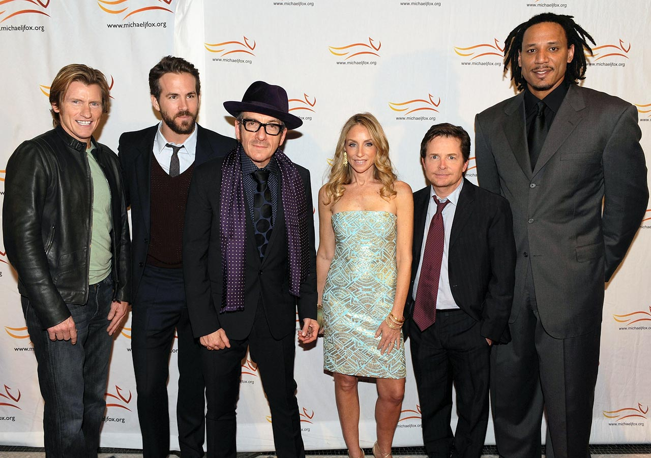 "Denis Leary, Ryan Reynolds, Elvis Costello, Tracy Pollan, Michael J. Fox and Brian Grant attend the ""A Funny Thing Happened on the Way to Cure Parkinson's"" benefit at The Waldorf Astoria Hotel on Nov. 21, 2009 in New York City."