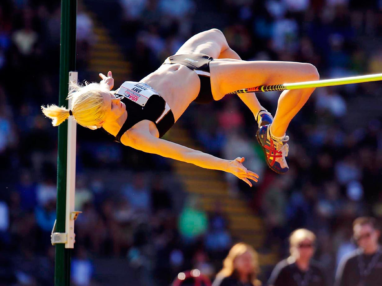 Amy Acuff clears the bar during the high jump final a the 2009 National Championships.