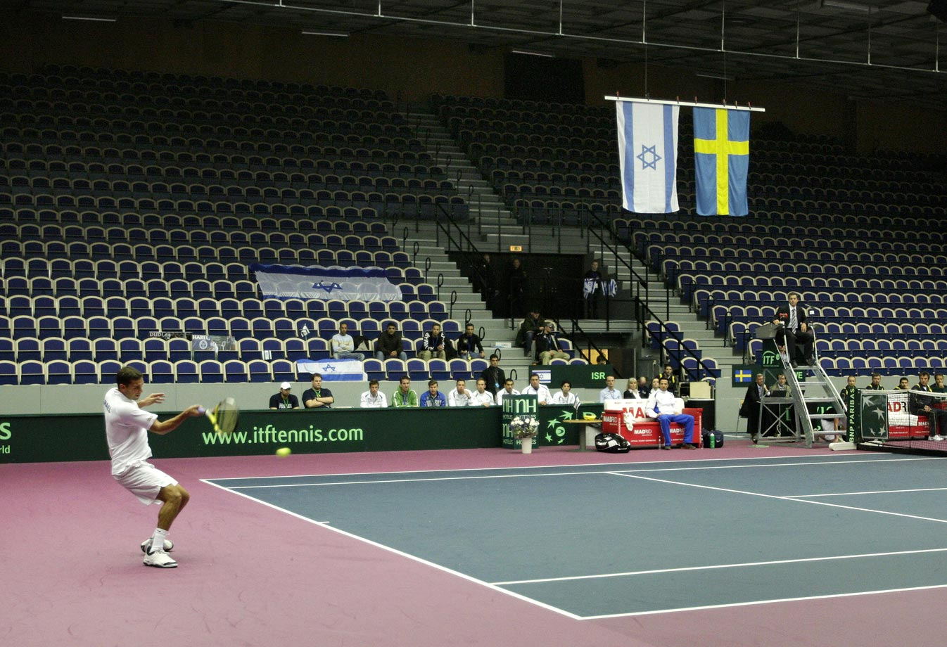 Sweden elected to host Israel in 2009 without any fans present, citing a fear of protests over Israel's bloody December offensive in Gaza. The Swedes were fined for that decision. They also wound up losing 3-2.