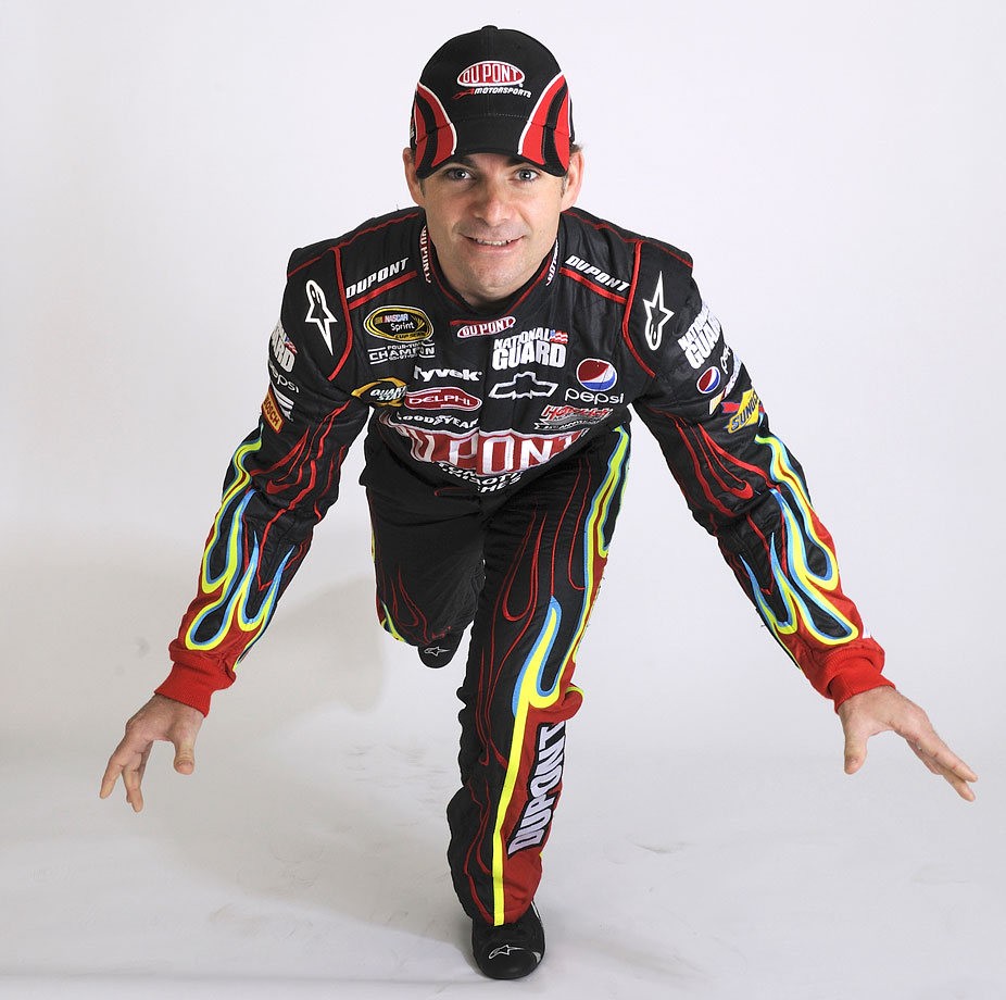 Jeff Gordon strikes a pose during a photo shoot at New Hampshire Motor Speedway.
