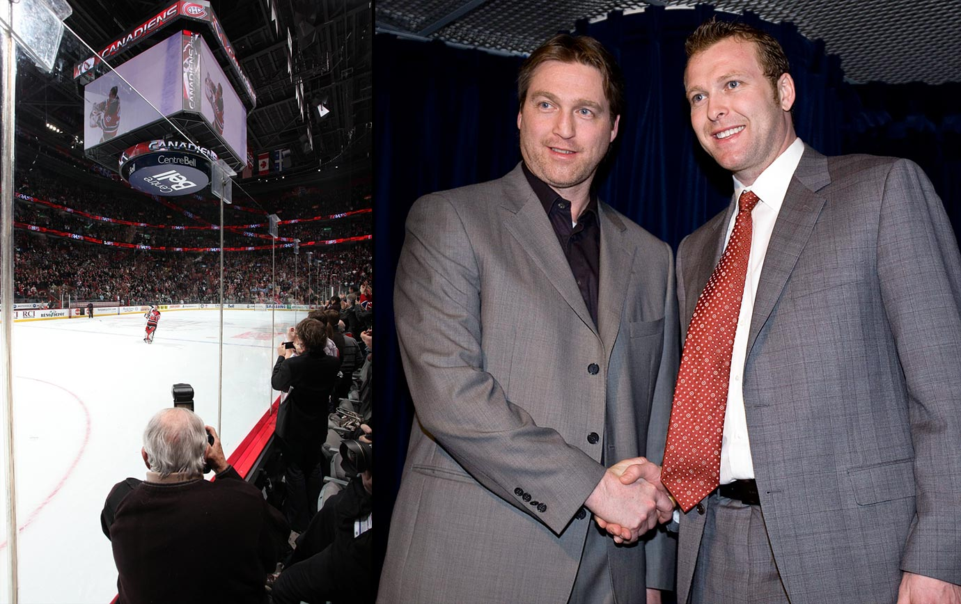 Brodeur joined Patrick Roy atop the NHL's victories list with a 3-1 win over the Canadiens on March 14, 2009. The night was made even sweeter because it came in Montreal, with his father (pictured w/camera) and Roy looking on, the banner bearing the former Canadien's recently-retired number (33) hanging over him, and the sell-out crowd chanting Brodeur's name.