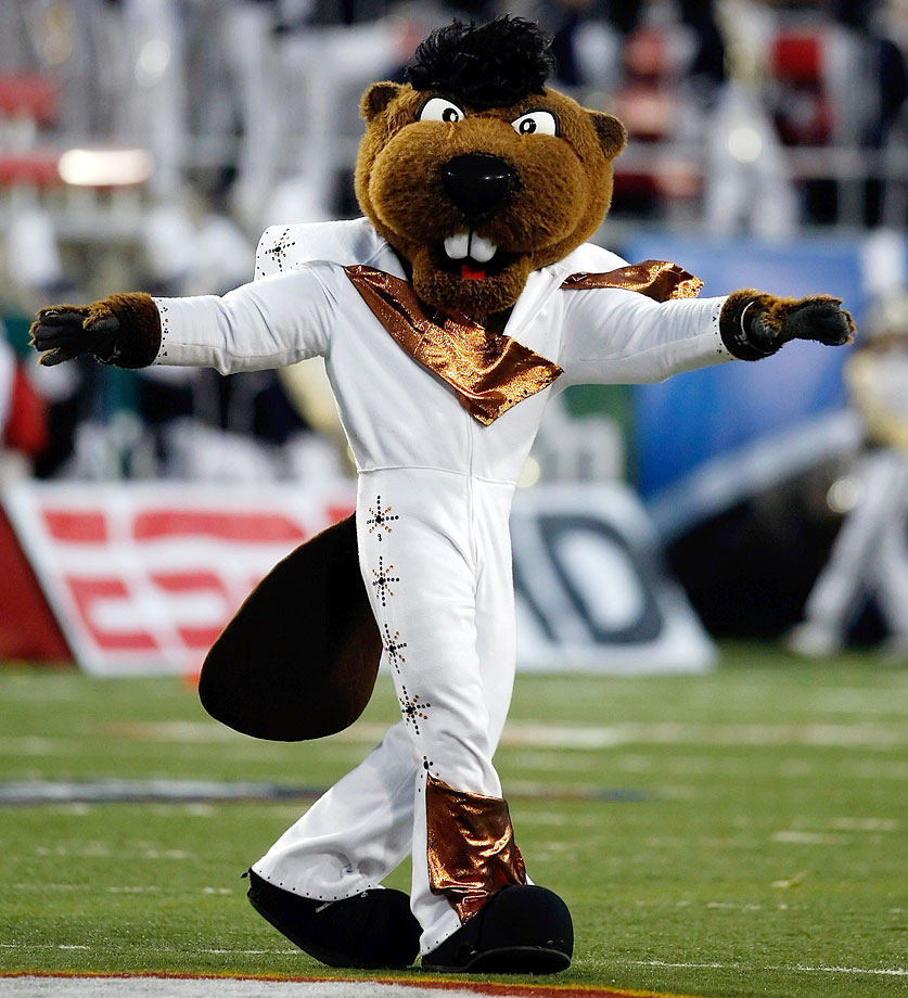 Oregon State mascot Benny appears on the field in an Elvis Presley-inspired costume before the team's game against BYU in the MAACO Las Vegas Bowl at Sam Boyd Stadium on Dec. 22, 2009.