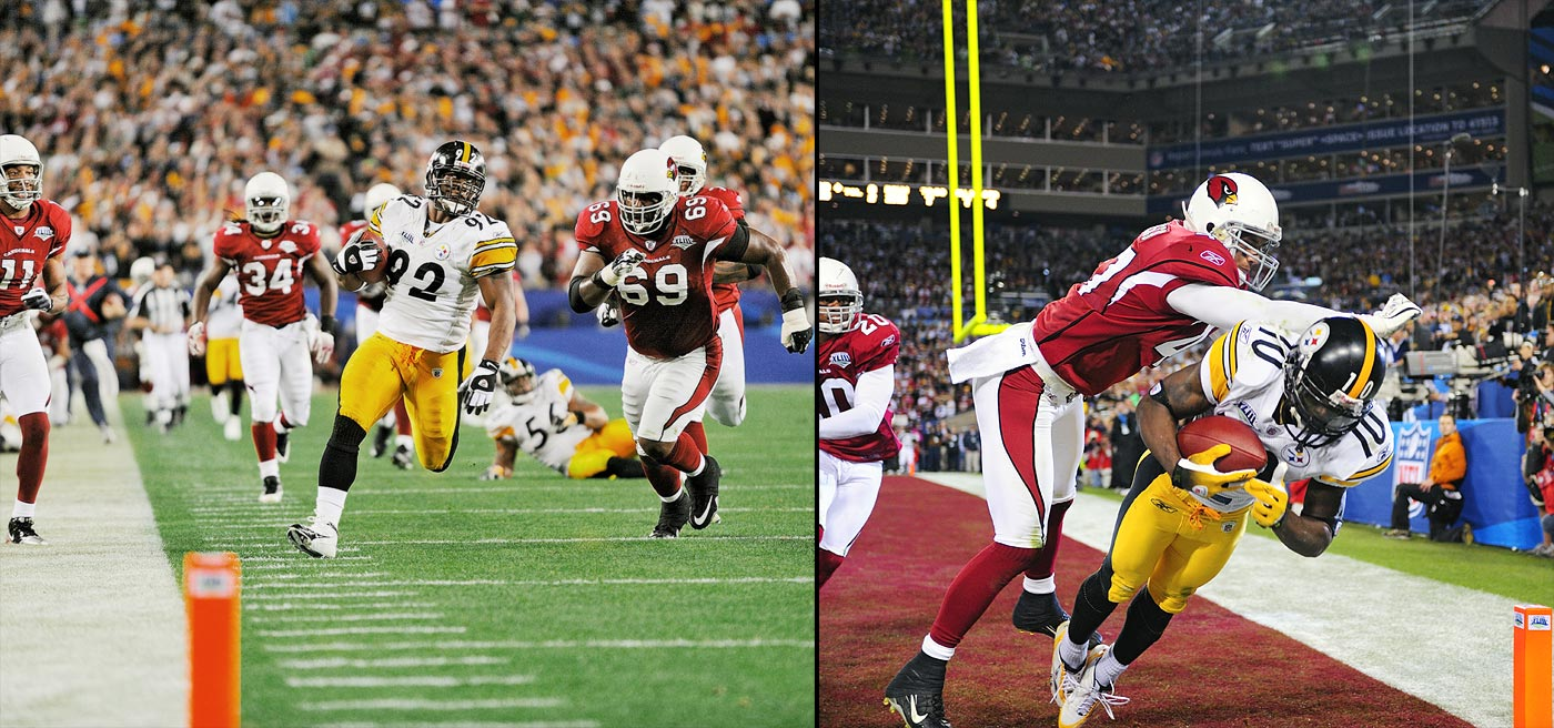 The Cardinals were on the verge of taking a lead into halftime, with a first down at the Pittsburgh one-yard line with 18 seconds to go. But a Kurt Warner pass was intercepted at the goal line by linebacker James Harrison, who rumbled 100 yards to make it a 17-7 game. A 14-point turnaround, in an instant. Santonio Holmes caught four balls for 73 yards on the Steelers' final possession -- including a gravity-defying, toe-dragging TD reception in the right corner of the end zone with just 35 seconds remaining -- clinching the franchise's sixth Lombardi trophy.