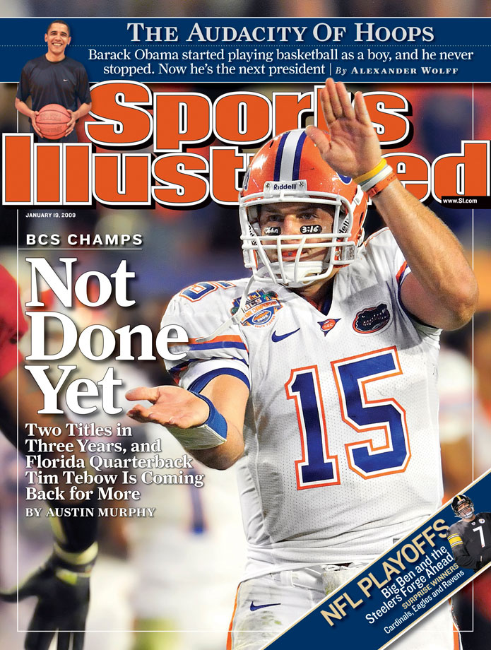 Tim Tebow taunts Oklahoma's Nic Harris with a Gator chomp during the BCS National Championship. Tebow received 15-yard unsportsman penalty for the gesture.