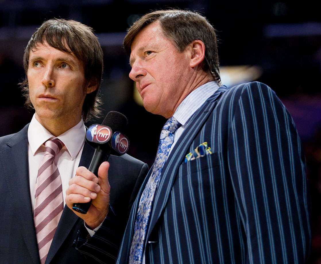 Craig Sager interviews Steve Nash during the Phoenix Suns game against the Los Angeles Lakers on Feb. 26, 2009 at Staples Center in Los Angeles.