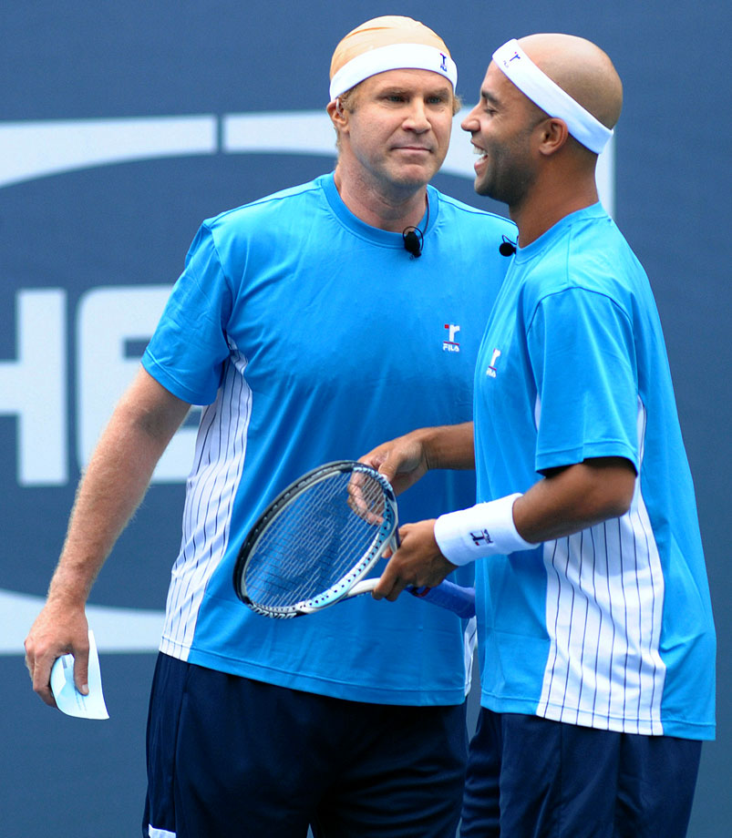 Will Ferrell impersonates James Blake during the Arthur Ashe Kids Day on Aug. 29, 2009 at the USTA Billie Jean King National Tennis Center in Flushing, N.Y.