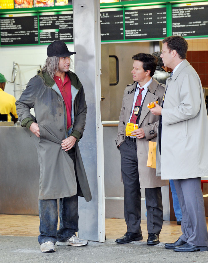 "Derek Jeter, Mark Wahlberg and Will Ferrell film a scene for ""The Other Guys"" on Nov. 12, 2009 at Nathan's Famous in Coney Island, N.Y."