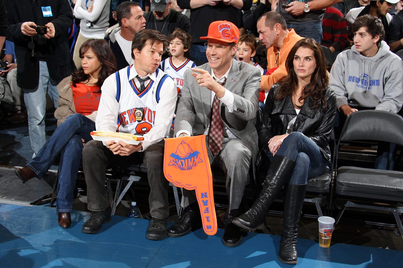 "Mark Wahlberg and Will Ferrell film a scene for their movie ""The Other Guys"" alongside Rosie Perez and Brooke Shields during the New York Knicks game against the Boston Celtics on Nov. 22, 2009 at Madison Square Garden in New York City."