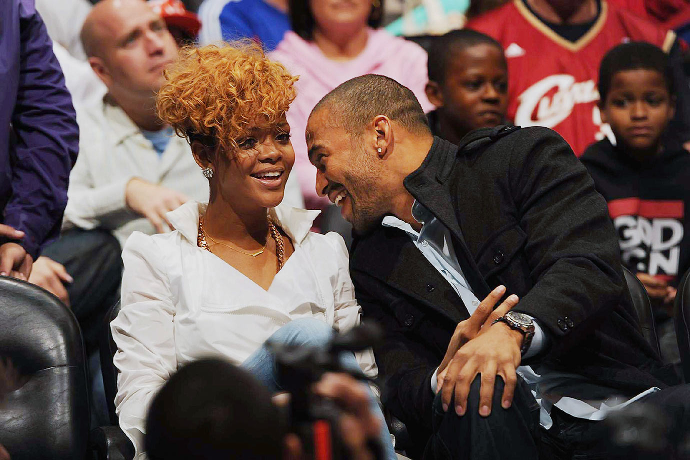 Rihanna and Matt Kemp share a laugh during the Los Angeles Clippers game against the Cleveland Cavaliers on Jan. 16, 2010 at Staples Center in Los Angeles.
