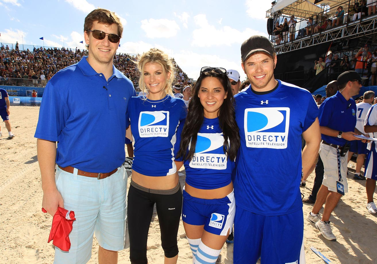 Eli Manning, Marisa Miller, Olivia Munn and Kellan Lutz attend the Fourth Annual DIRECTV Celebrity Beach Bowl in South Beach on Feb. 6, 2010 in Miami Beach, Fla.